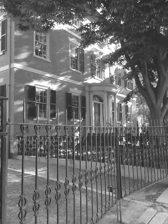 bw house and fence