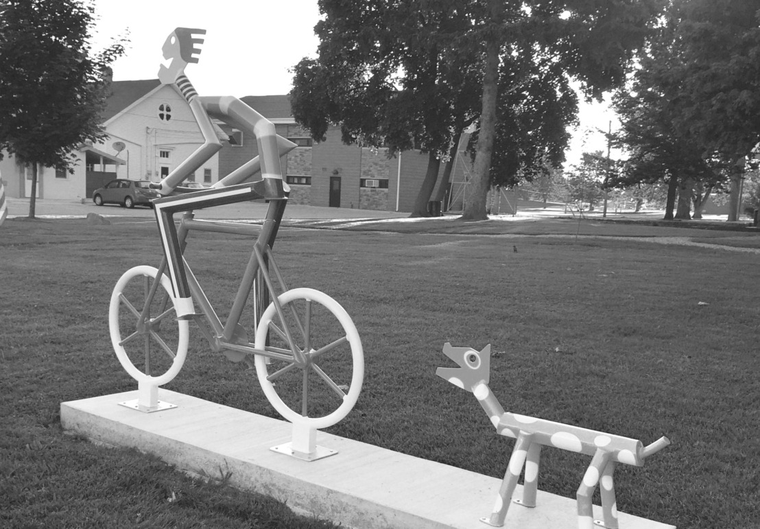 bw bike sculpture